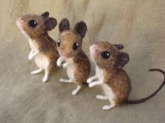 Reserved for Glenn 3 needle felted mice by Ainigmati on Etsy, $97.50