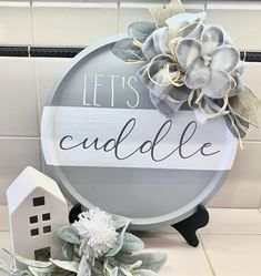 Adhesive Vinyl Decal Lets Cuddle Dollar Tree Decor, Dollar Tree Crafts, Dollar Tree Christmas, Christmas Crafts, Diy Crafts To Sell, Home Crafts, Plate Crafts, Diy Signs, Craft Projects