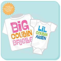 Set of 2 Big Cousin and Little Cousin Shirt Personalized Infant, Toddler or Youth Tee Shirt or Onesie Pregnancy Announcement (03042014a) on Etsy, $29.98