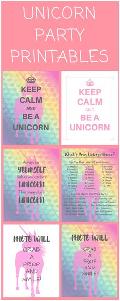Check out these cute, simple and FREE unicorn party printables - invitations, treat bag tags, customizable banner.. and gorgeous glittery cake topper! I birthday I kids I www.FrugalFloridaMom.com