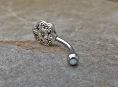 Flower Fire Opal White Belly Button Navel Ring Body Jewelry Fits in Navel 14ga Cute Belly Ring