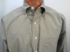 Brooks Brothers Mens L Green & Yellow Plaid Cotton Button-Down Shirt Non-Iron #BrooksBrothers #ButtonFront