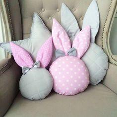 Rabbit pillow rabbit pillow nursery decor handmade pillow kids pillow p Bow Pillows, Cute Pillows, Sewing Pillows, Kids Pillows, Pillow Crafts, Fabric Crafts, Sewing Crafts, Sewing Projects, Bunny Crafts