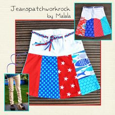 Malala: Patchwork-Jeansrock Tutorial ... free pattern and tutorial patchwork skirt jeans recycling
