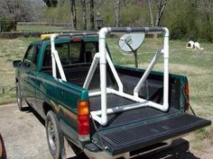 PVC Pick Up Truck Rack for canoe or kayak. such a good idea, cant believe i never thought of it Canoe Camping, Motorcycle Camping, Canoe And Kayak, Kayak Fishing, Camping Gear, Fishing Stuff, Camping Stuff, Fishing Tips, Kayak Rack For Truck