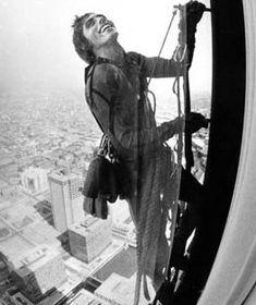 Dan Goodwin. Climb to north tower. May 30, 1983.