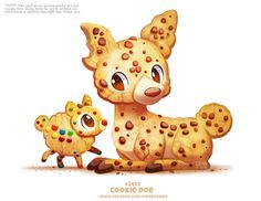 Daily Paint Cookie Doe by Cryptid-Creations on DeviantArt Cute Food Drawings, Cute Animal Drawings Kawaii, Kawaii Art, Cute Fantasy Creatures, Mythical Creatures Art, Cute Creatures, Anime Animals, Cute Animals, Animal Puns