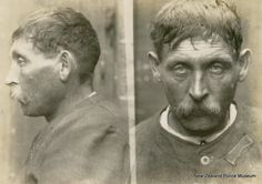 John Larsen (b. 1872, Denmark). Charged with exposing his person and sentenced to 12 months in gaol on 29 November 1907 (Auckland). Occupation listed as 'seaman'. Photograph taken on 19 September 1907.