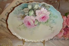 Limoges - Vanity Tray - Hand Painted - Pink ROSES - Artist SIGNED - One-of-a-Kind