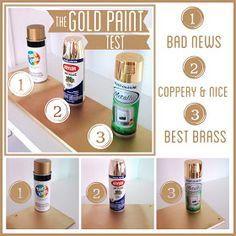 Best gold spray paint?  Krylon gold paint has a coppery tone, Rustoleum is shiny brass