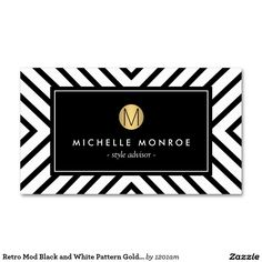 Retro Mod Black and White Pattern Gold Monogram Double-Sided Standard Business Cards (Pack Of 100)