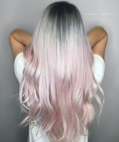 silver grey roots fade into pink pastel