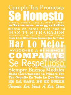 Spanish Language House and Family Rules . Casa Familia Rules  . 13x19  // Subway Art Poster Print // Spanish Espanol Language. $45.00, via Etsy.