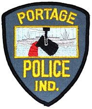 PORTAGE INDIANA IN Police Patch BATTLE SHIP VINTAGE OLD MESH ~ Note: My Stepmom used to work as a dispatcher here.