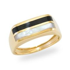 Black+Coral+Ring+with+Mother+of+Pearl+in+14K+Yellow+Gold