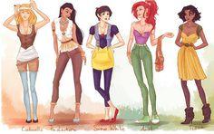 A ideia é da ilustradora ucraniana Viria, que tratou de dar uma repaginada e atualizar o visual das belas personagens dos contos infantis.