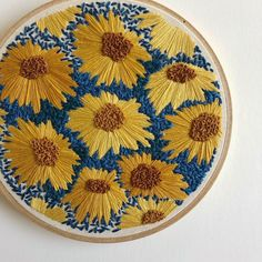 "2,091 Likes, 37 Comments - threadhoney | @thejennriggs (@threadhoney) on Instagram: ""Sea of Sunflowers  Just listed this hoop in the shop!"""