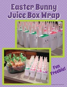 Free printable......make your own bunny juice boxes next year for easter fellowship. Collect juice boxes early
