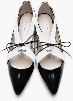 Marc Jacobs Black & White Cut-out Patent Leather Air Shade Flat