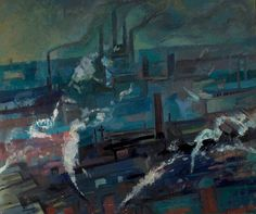 Industrial View by Evelyn Gibbs. Date painted: 1953 Industrial Artwork, Urban Industrial, Your Paintings, Landscape Paintings, Landscapes, Painting Gallery, Art Gallery, Moonlight Painting, Nottingham City