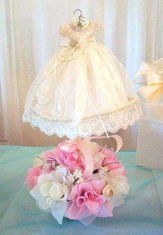 Baby shower centerpieces for girls dress 52 ideas for 2019 Baby Girl Christening Gowns, Baby Girl Baptism, Baptism Party, Baby Gown, Baby Party, Baptism Ideas, Christening Centerpieces, Baby Shower Table Centerpieces, Baptism Decorations