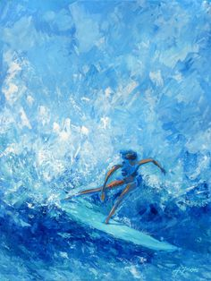 SurfAce-acrylic painting on canvas-cm 60x80 #surf #surfer #surfgirl #wave #acryliconcanvas #painting #alexpiraspaintings #saatchiart