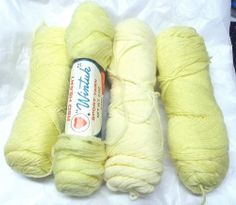 Vtg yellow yarn lot Red Heart Wintuk port yarn 2 ply acrylic knitting crafts