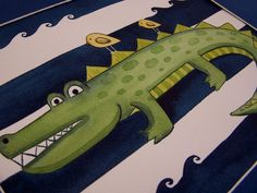 Alligator gator wall art prints kids boys by theprincessandpea, $18.00