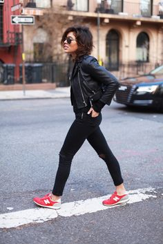 New Balance trainers | black leather jacket | black skinnies | city chic street style                                                                                                                                                      Más