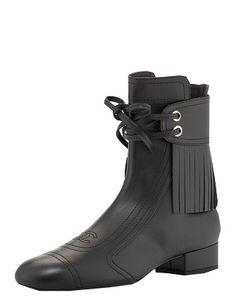 CHANEL Calfskin Fringe Ankle Boots