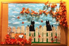 Autumn with Linus, Snoopy and cats (October bulletin board - Mahopac Public Library October Bulletin Boards, Preschool Bulletin Boards, Bulletin Board Display, Classroom Bulletin Boards, Halloween Bulletin Boards, Classroom Door, School Displays, Classroom Displays, Library Displays