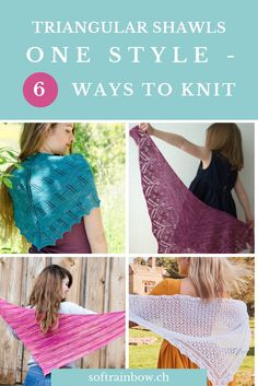 TRIANGULAR SHAWLS: ONE STYLE - 6 WAYS TO KNIT - Do you ever wondered how the different kind of triangular shawls are constructed? Click and find out!