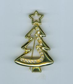 THREE different & unusual Christmas Tree Brooches. Bonanza.com Christmas in July Sale $13.59 free ship #cshort0319