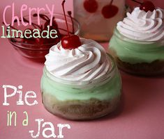 cherry limeade pie in a jar