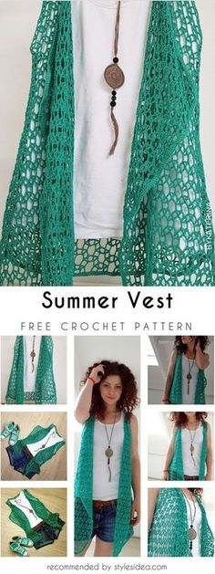 Free Crochet Vest Patterns Free Crochet Patterns And Video Tutorials How To Crochet Ve. Gilet Crochet, Crochet Vest Pattern, Crochet Shirt, Crochet Jacket, Crochet Cardigan, Crochet Patterns, Crochet Sweaters, Crochet Crafts, Crochet Yarn