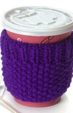 Cup Cozy Free Knitting Pattern from Red Heart Yarns
