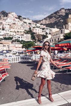 Zimmermann floral print lace up back dress in Positano, Italy