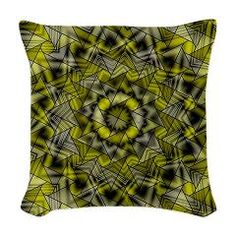 black yellow kaleidoscope Woven Throw Pillow> the best/all designs> MehrFarbeimLeben