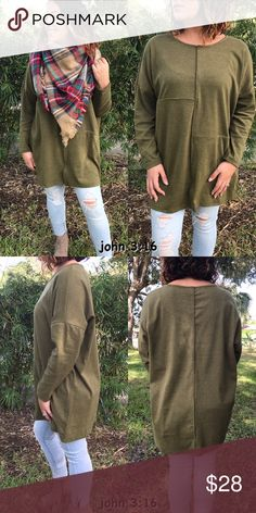 Loose fitted olive tops Long sleeve jersey cotton and loose fitted tunic tops. Feels great and perfect for this cooler weather...looks stylish with a blanket scarf. 95%polyester 5%spandex. Price is firm✔️ Tops Tunics