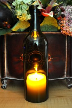 Wine Bottle Lights Hurricane Candle Lamp Unique Gift by TipsyGLOWs, $10.00