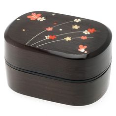 2-Tiered Bento Box, Black/Red Cherry Blossom - casa.com
