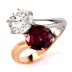 Certified 3.66 ct Diamond & Ruby French Engagement Ring Item #…