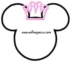 4x4 and 5x7 Minnie Mouse Ears with Princess Crown Sewing Machine Embroidery Design fits hoops 5x7 and 4x4