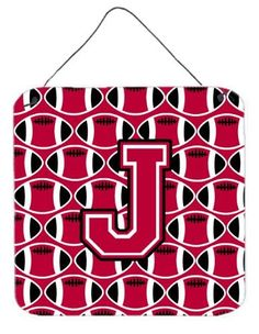 Letter J Football Crimson and White Wall or Door Hanging Prints CJ1079-JDS66