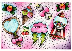 Vorssa Ink by Kata Puupponen Tattoo Flash Print Sheet bubblegum    - A4 (210x297mm)