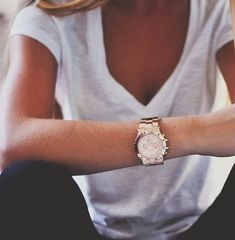 White T-shirt with jeans and stylish watch for summer fashion