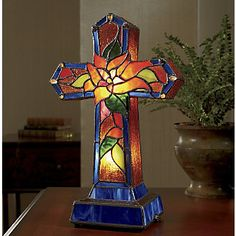 Cross Lamp, Stained Glass from Through the Country Door®