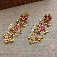 Indian Bridal Jewelry Sets, Indian Jewelry Earrings, Silver Jewellery Indian, Jewelry Design Earrings, Gold Earrings Designs, Gold Jewellery Design, India Jewelry, Fisher, Gold Jewelry Simple