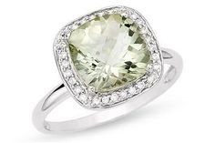 14K White Gold 1/10 ctw Diamond and Green Amethyst Ring