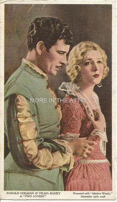 RONALD COLMAN VILMA BANKY ORIG SILENT MOVIE TWO LOVERS UK ISSUE COLOR PREMIUM
